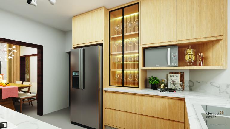 Cozinha e Sala de Jantar Clean e Atemporal com Jardim de Inverno 2