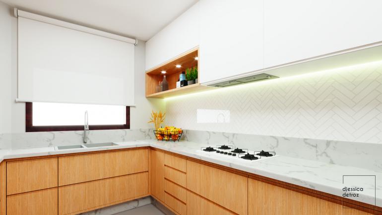 Cozinha e Sala de Jantar Clean e Atemporal com Jardim de Inverno 3
