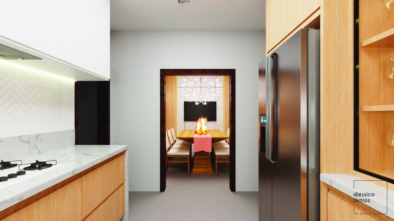 Cozinha e Sala de Jantar Clean e Atemporal com Jardim de Inverno 4