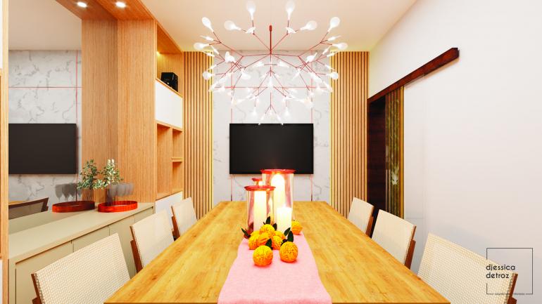 Cozinha e Sala de Jantar Clean e Atemporal com Jardim de Inverno 5