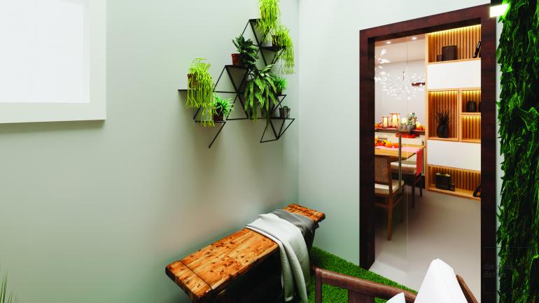 Cozinha e Sala de Jantar Clean e Atemporal com Jardim de Inverno 8