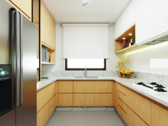 Cozinha e Sala de Jantar Clean e Atemporal com Jardim de Inverno