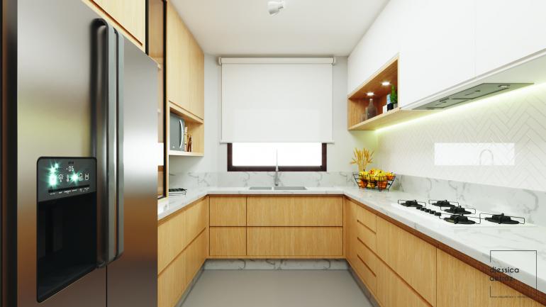 Cozinha e Sala de Jantar Clean e Atemporal com Jardim de Inverno 1