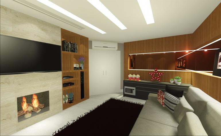 Sala de Tv da Família com Lareira 2