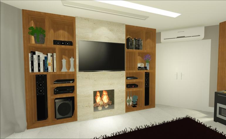 Sala de Tv da Família com Lareira 3
