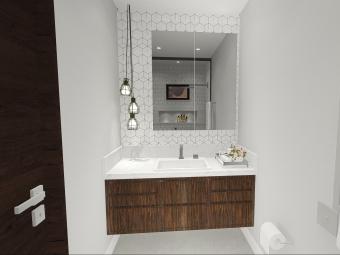 Banheiro com Móvel em Lâmina Natural