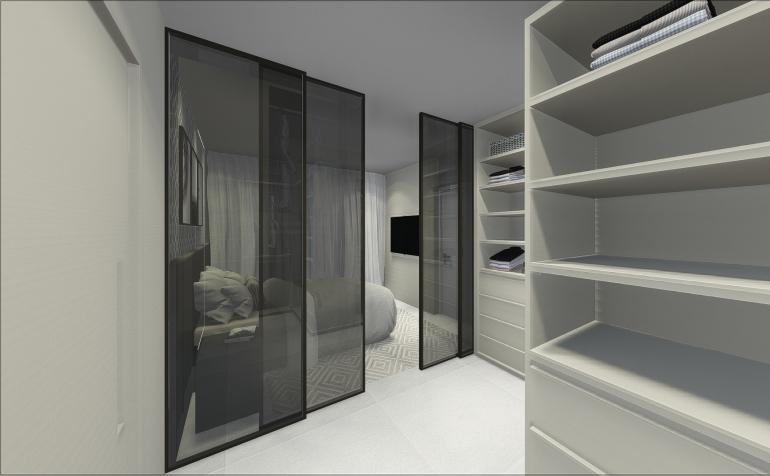 Suíte com Closet e Portas de Vidro Fumê 5