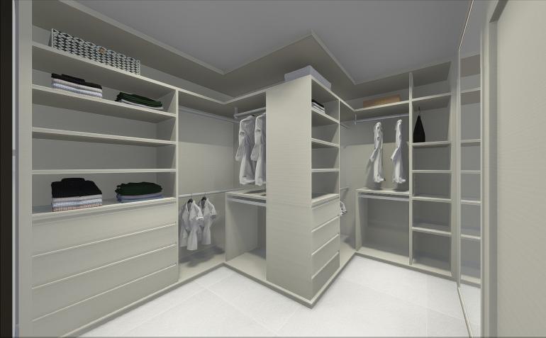 Suíte com Closet e Portas de Vidro Fumê 3