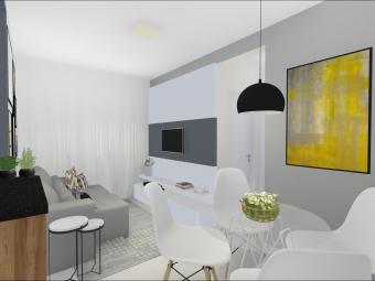 Sala de TV e Jantar com Parede de Tijolinho Branco
