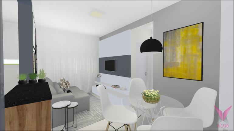 Sala de TV e Jantar com Parede de Tijolinho Branco 1