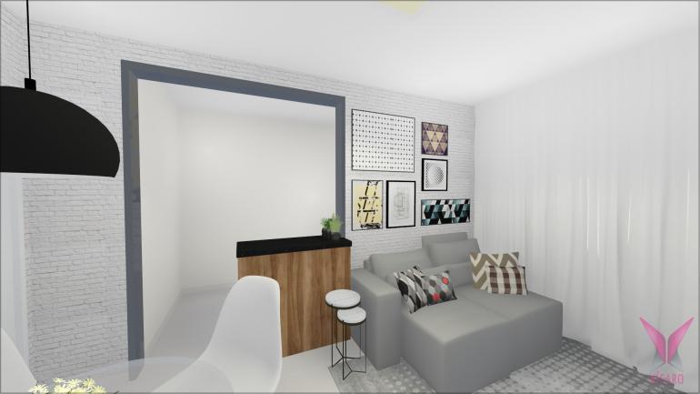 Sala de TV e Jantar com Parede de Tijolinho Branco 4