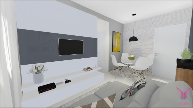 Sala de TV e Jantar com Parede de Tijolinho Branco 2