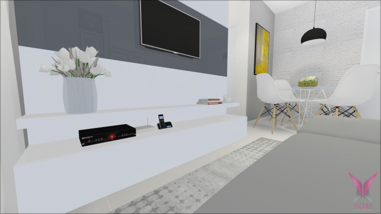 Sala de TV e Jantar com Parede de Tijolinho Branco 3
