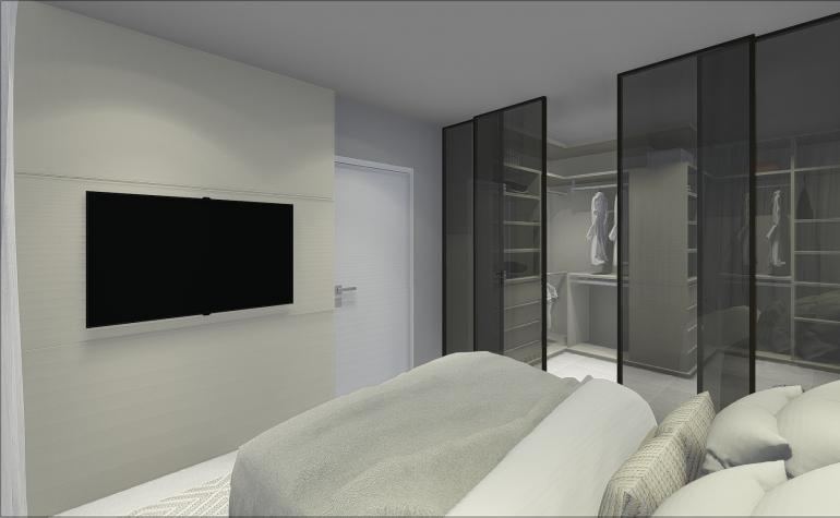 Suíte com Closet e Portas de Vidro Fumê 2